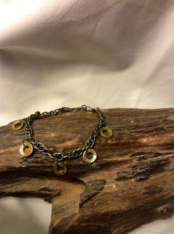 Bracelet made from .380 shells  by KaliberKreations on Etsy, $25.00