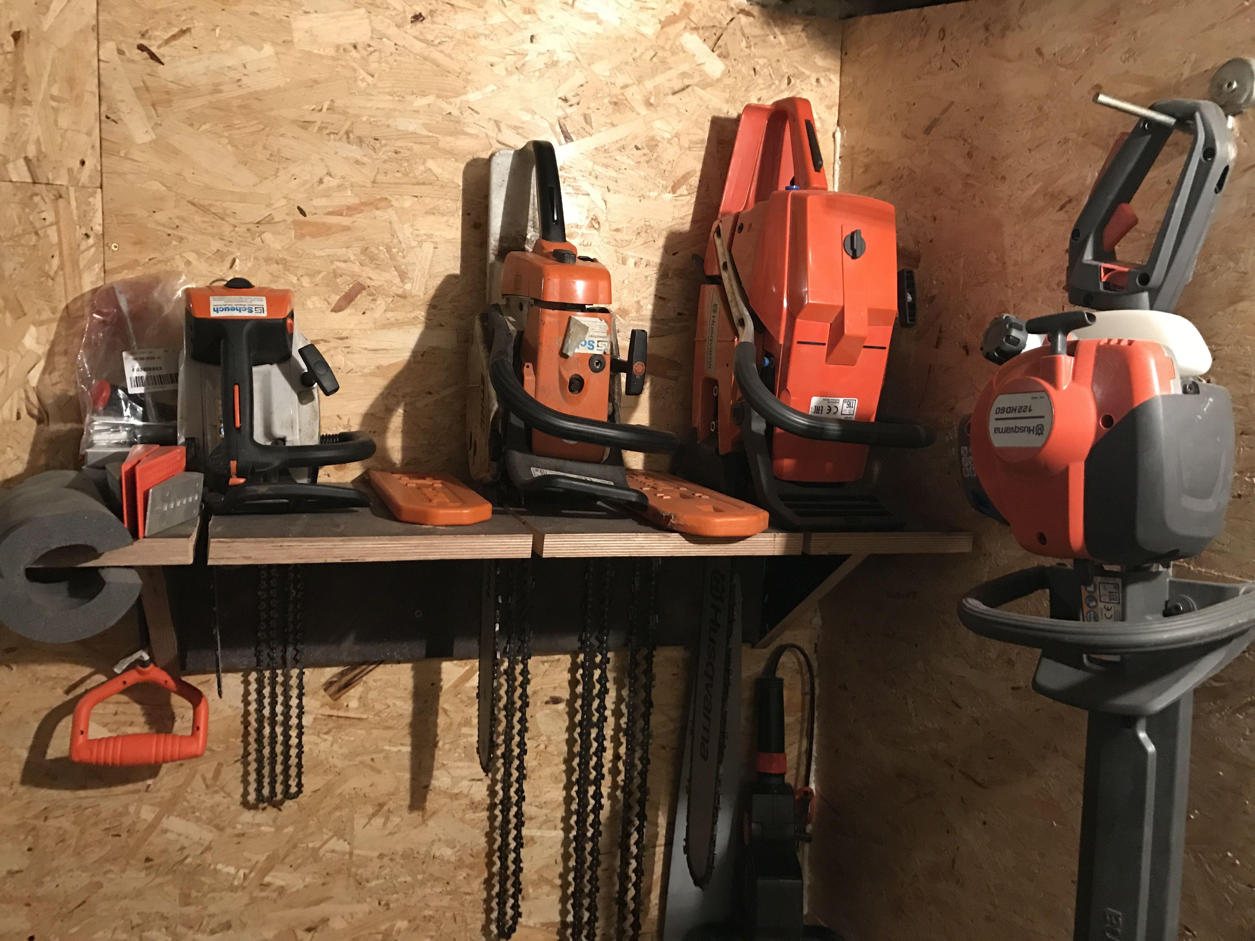 chainsaw holder astuces rangements rangement garage. Black Bedroom Furniture Sets. Home Design Ideas