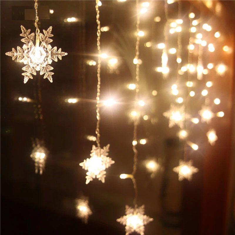 20 LED Christmas Snowflake Fairy String Lights Garden Wedding Party ...
