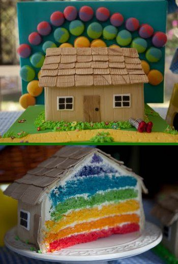 Perfect Wizard of Oz cake: house sitting on witch feet + cut it open for rainbow!