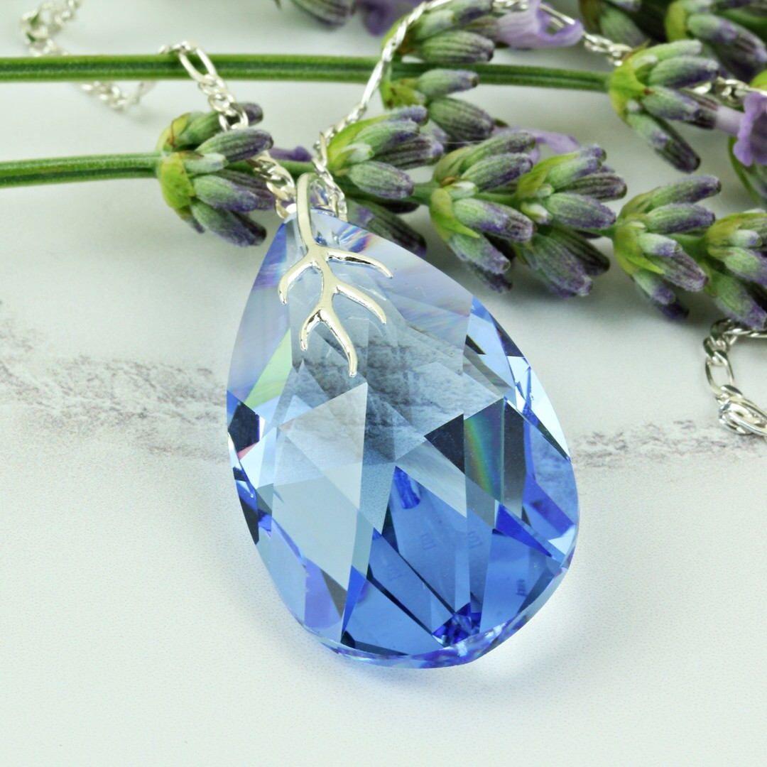 September Birthstone Necklace. Swarovski Pendant Necklace