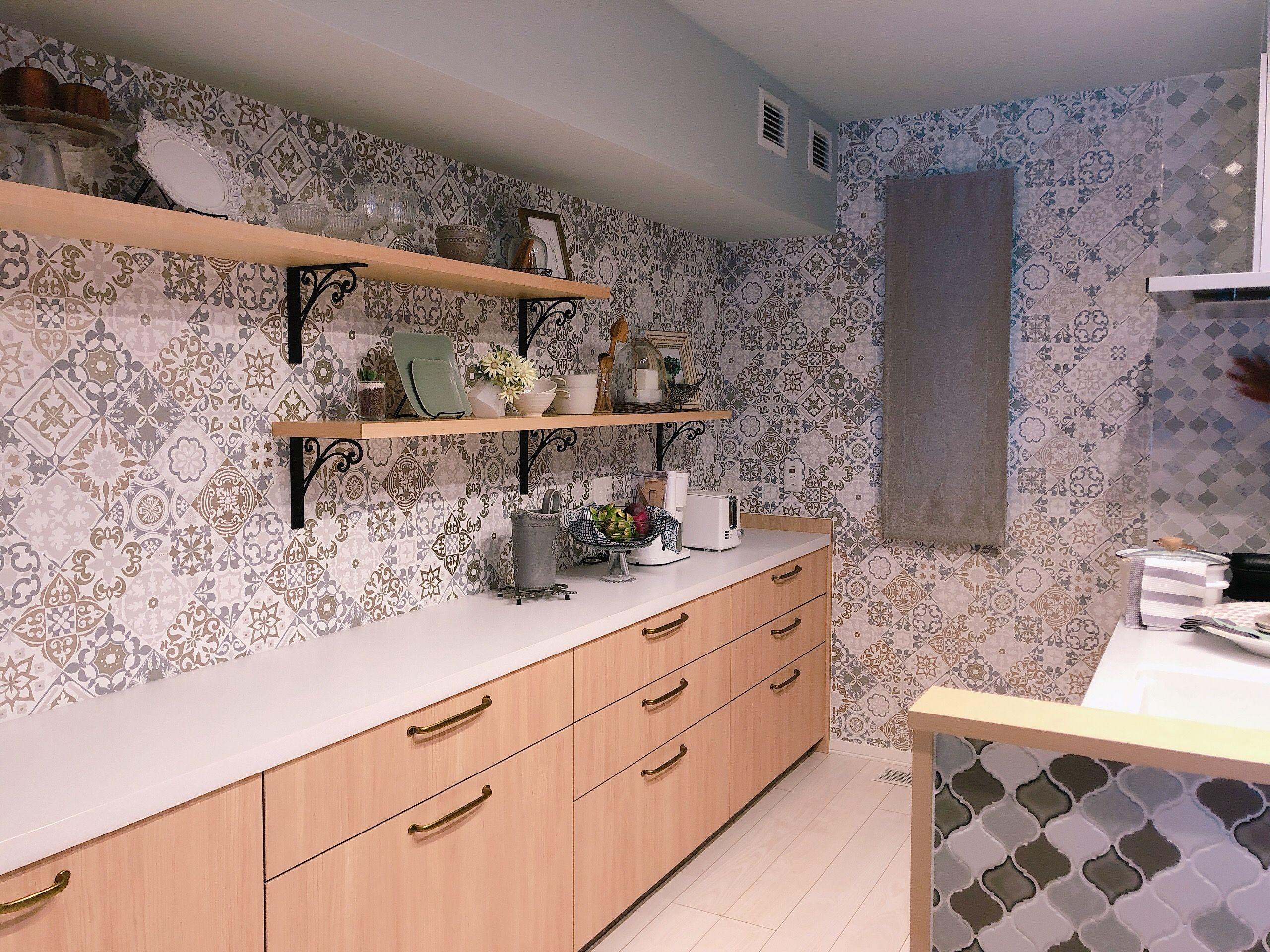 壁紙 モロッコタイル ハイム キッチン デザイン