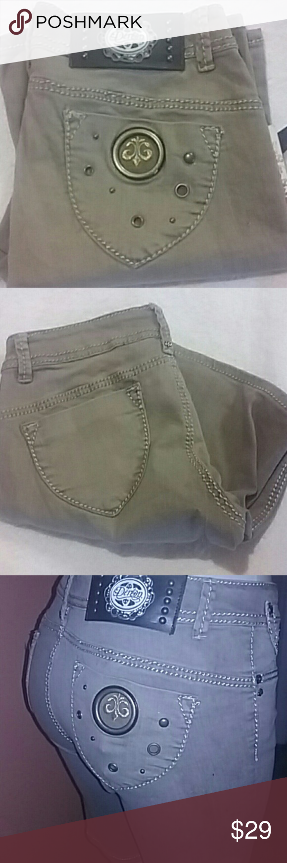 "Dereon brown wash Bermuda jeans shorts. Sz5/6 New with tag dereon brown wash Bermuda shorts. Size 5/6. Great stretch soft denim material. Color Samoa wash . Last store display item. Please pay attention. To measurements.  Great stretch fabric. Fits junior 7 also. Measurements  waist 14"" flat. Rise 8.5"". Inseam 10"" Dereon Jeans Ankle & Cropped"