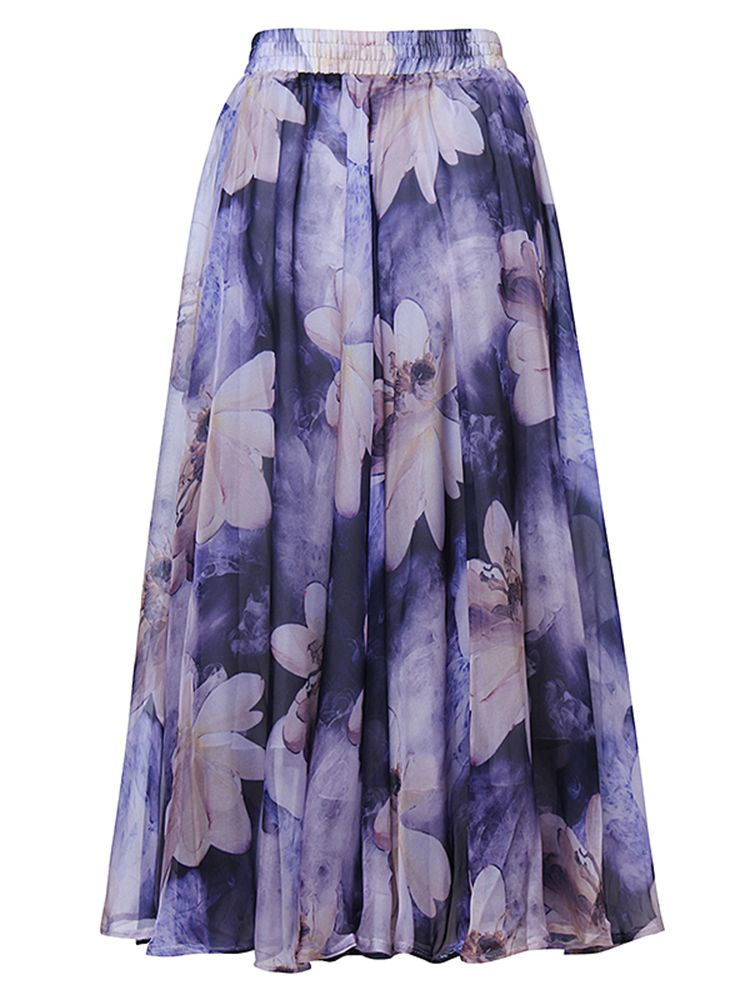 f2ac8ff450 Bohemian Chiffon Elastic Waist Floral Print Pleated Women Maxi Skirt ...