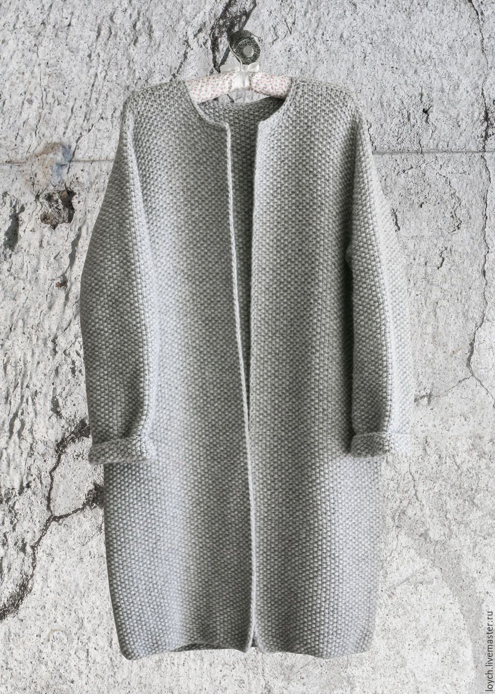 купить пальто оверсайз вязаное норка серый цвет серый