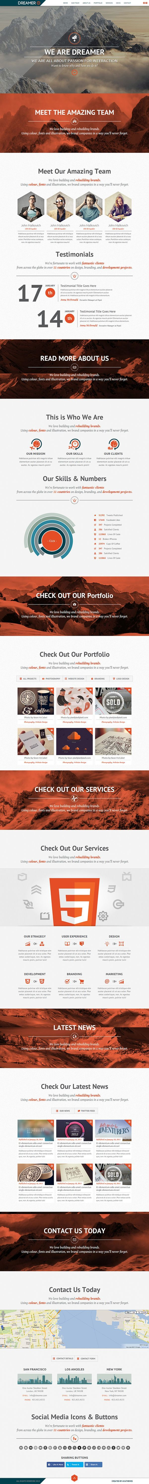 dreamer responsive one page parallax template by avathemes