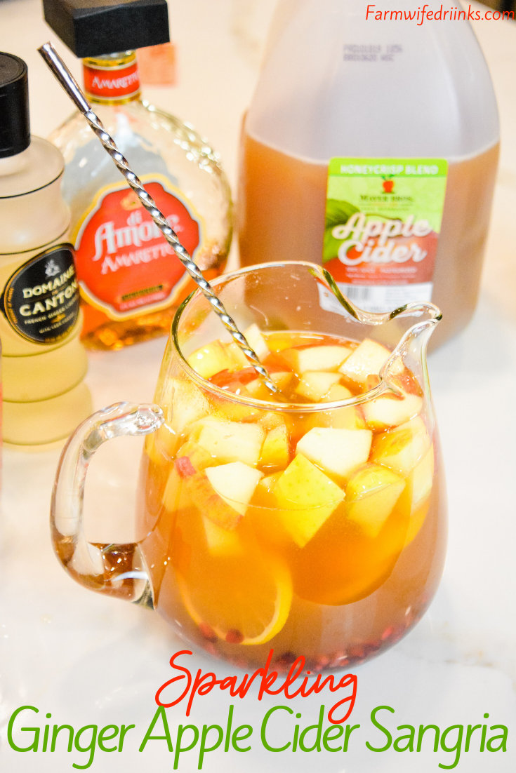 Sparkling Ginger Apple Cider Sangria #applecidersangriarecipe Sparkling ginger apple cider sangria combines apple cider, ginger liqueur, amaretto, prosecco with hints of lemon and pomegranate in a fall sangria recipe. #Sangria #Cocktails #FallRecipes #Drinks #AppleCider #applecidersangriarecipe