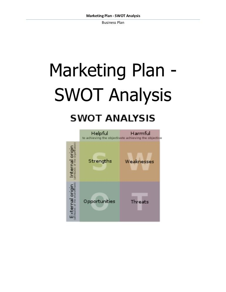 Marketing plan - SWOT analysis by Business Plan via slideshare - swot analysis example