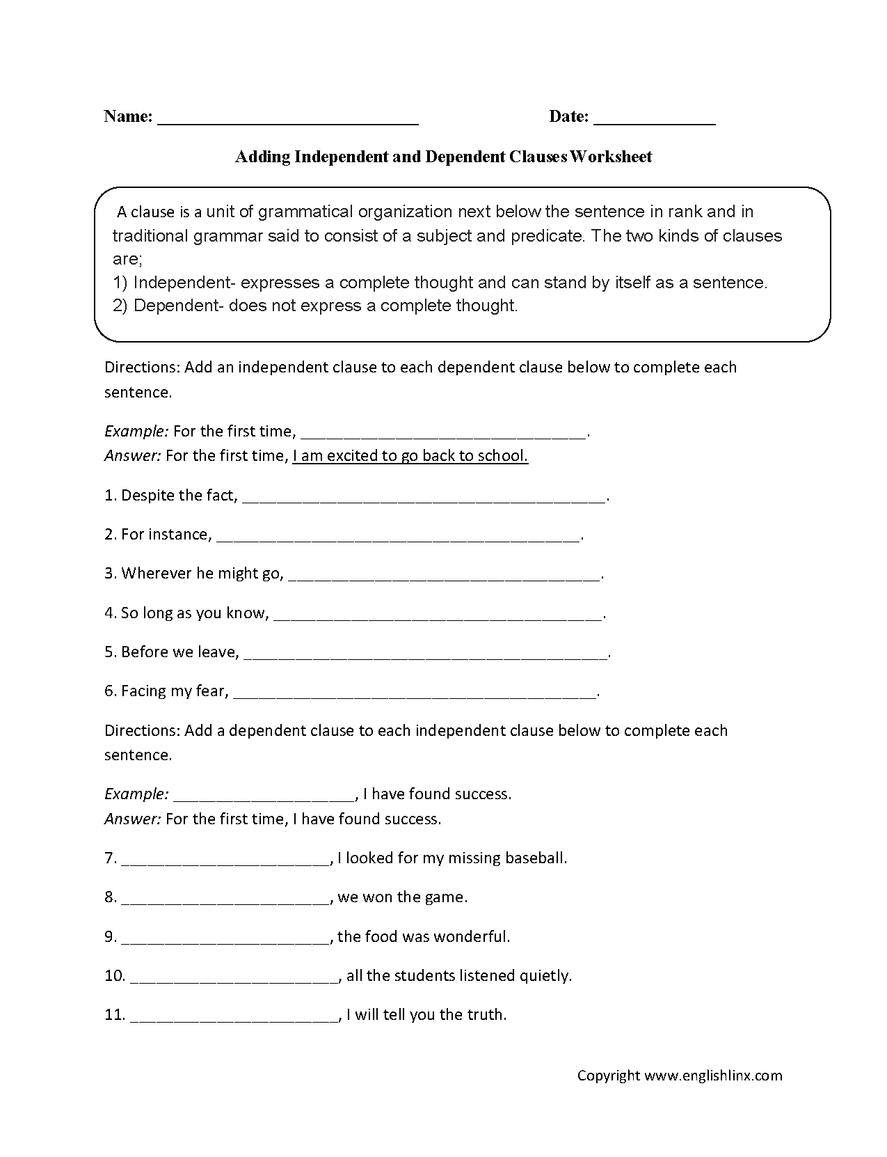 Adding Dependent and Independent Clauses Worksheet – Noun Clauses Worksheet