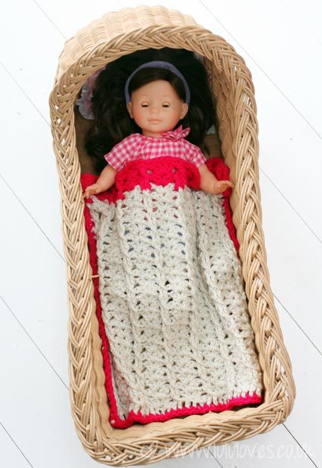 Cute Doll Blanket Made By Lulu Loves Free Cabled Shell Throw