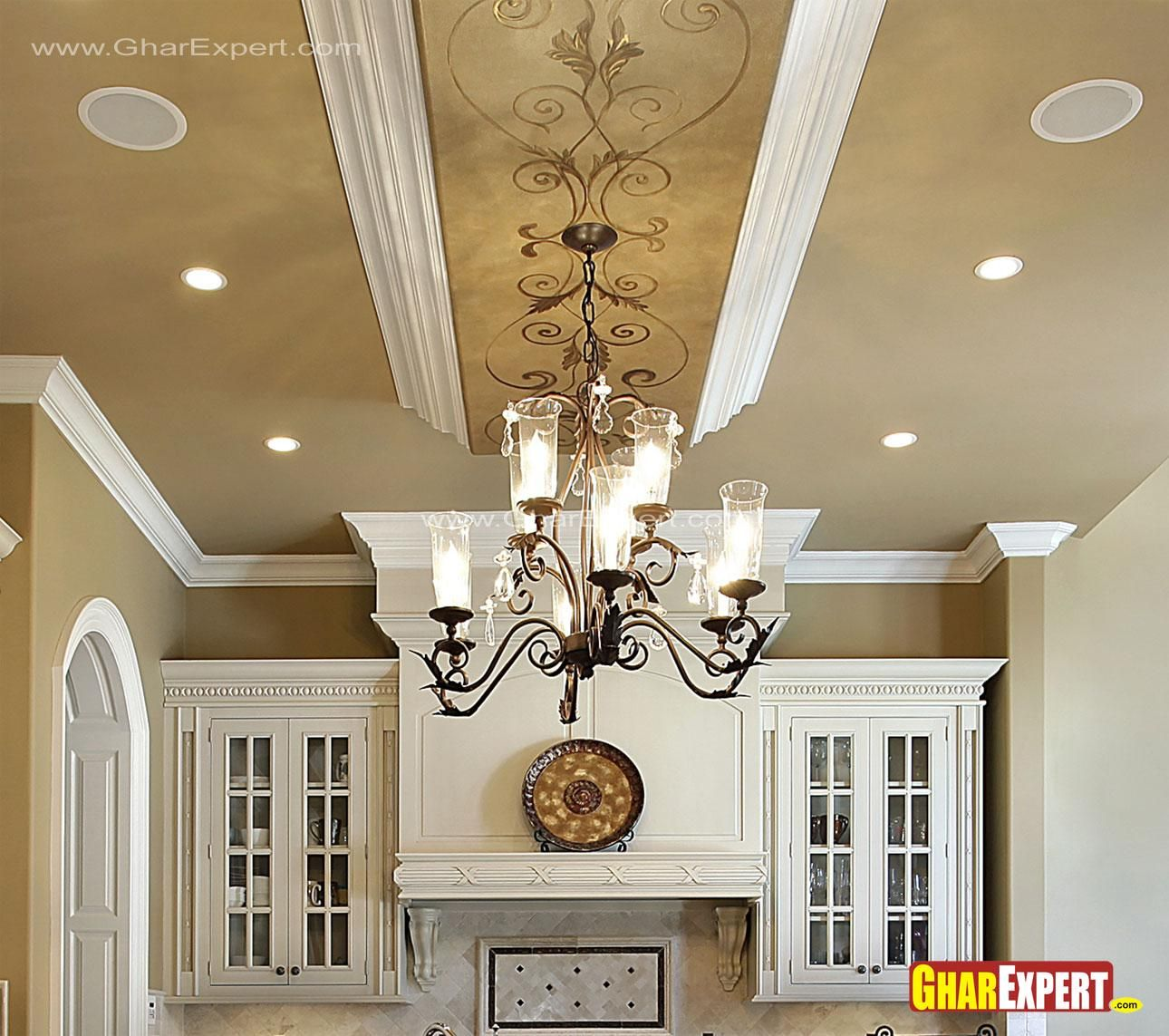 Chandelier And False Ceiling D Kitchen Pinterest