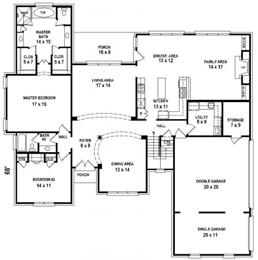 654206 5 bedroom 4 bath house plan house plans floor for 5 bedroom house designs