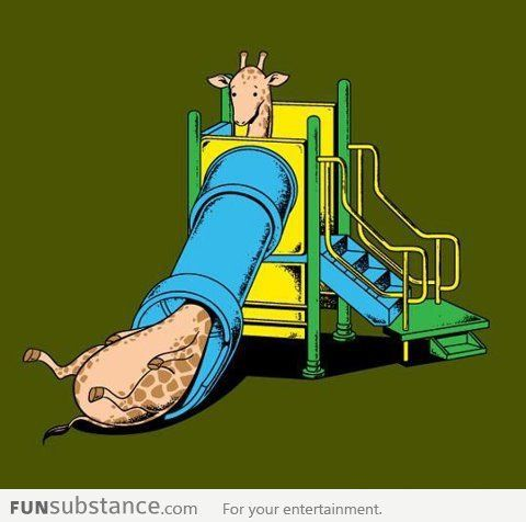 Giraffe can't play with the slide