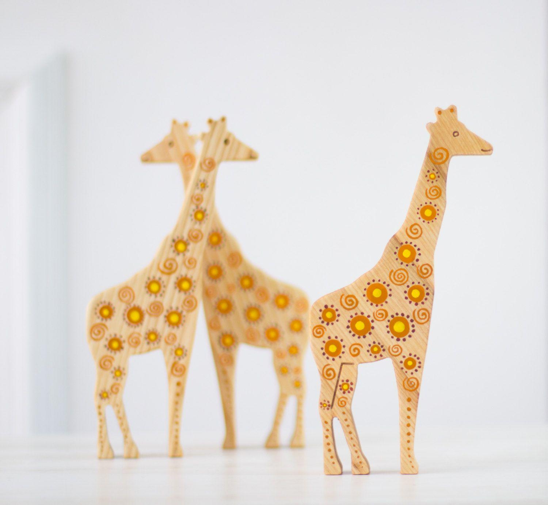 Items Similar To Wooden Giraffe Toy Wood Animal Decor Ooak Woodland Kids Room Decoration African Vintage Colorful Design Figurine