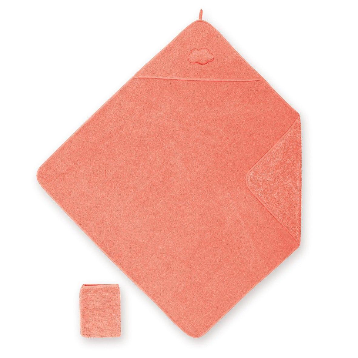 Oranje badcape + washandje van het merk Bemini in het materiaal Bamboo De zachte en absorberende badcape vergemakkelijkt door zijn extra grote maat het wikkelen van de baby na zijn badje. De dubbelzijdige badstof geeft de nodige zachtheid aan baby's gevoelige huid.