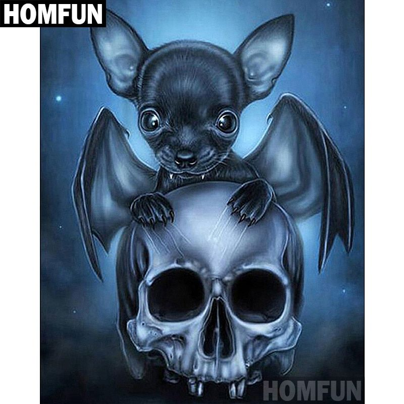 5D Diamond Painting Black Bat and Skull Kit in 2018   DIY ...