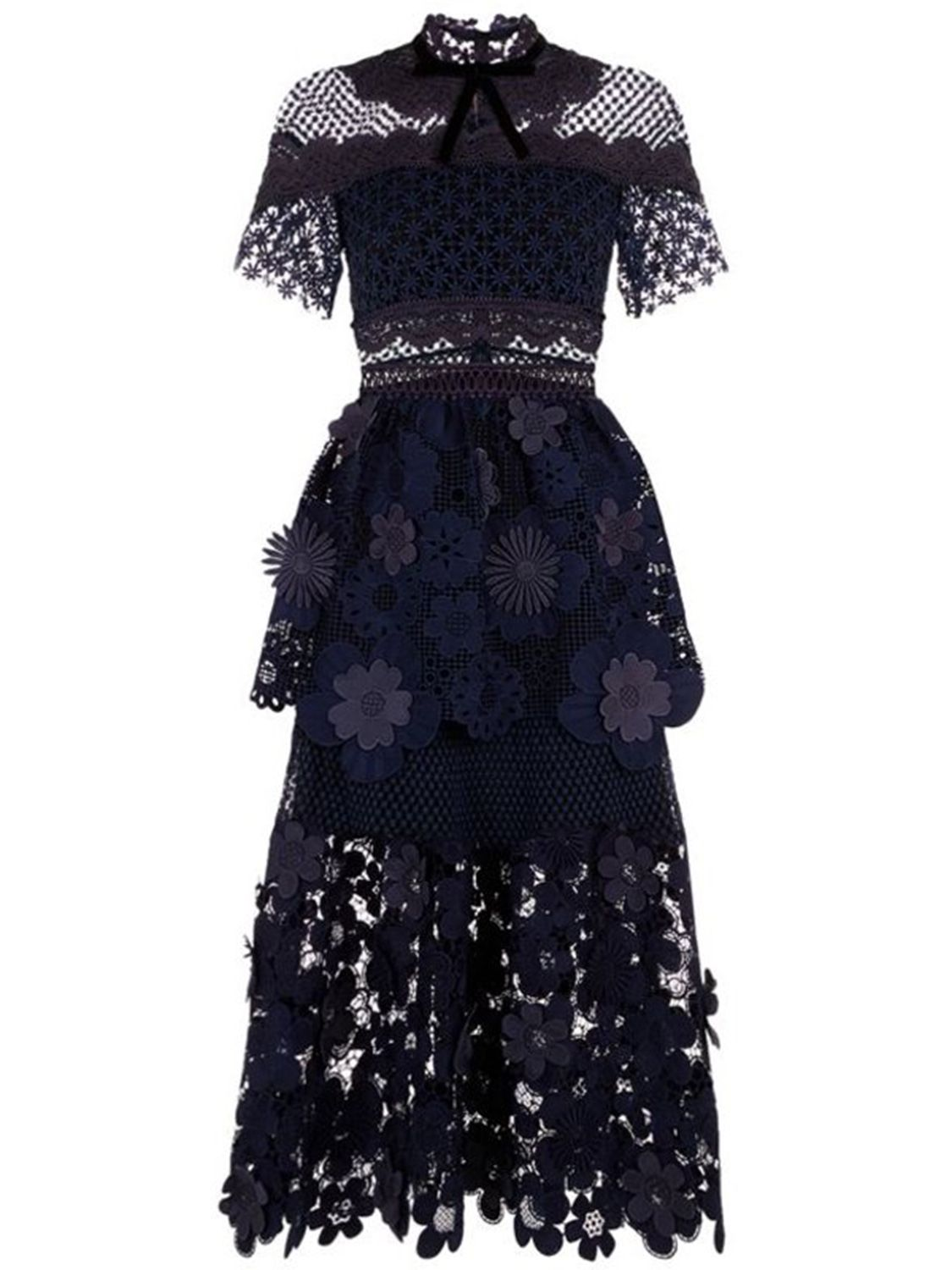 86aa3815a3a1 Navy Blue Mesh Panel 3D Floral Lace Double Layer Midi Dress   CHOIES ...