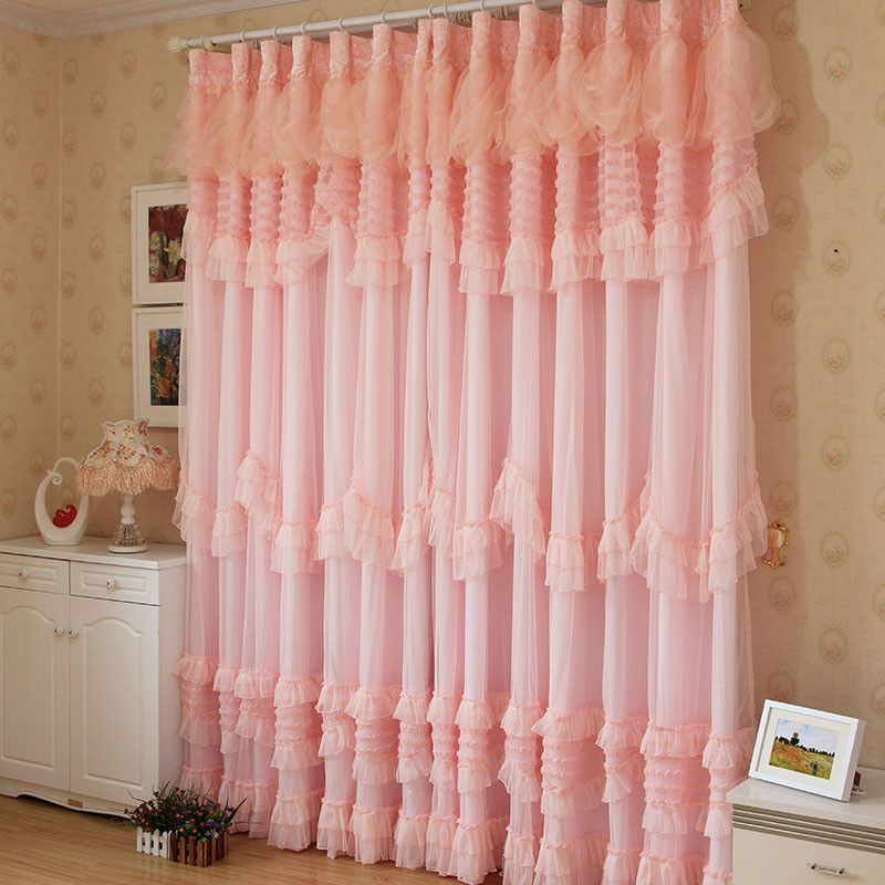 Luxo Selling Hot coreano Pink Rose Lace Ruffled infantil Cortina Princesa, de