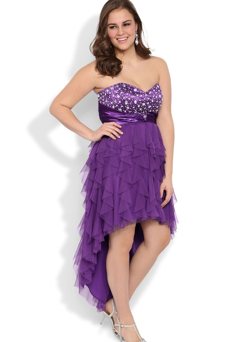 Purple Sweetheart Plus Size Stone Bodice High Low Tulle Prom Dress