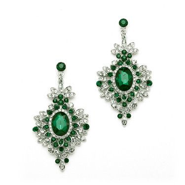 Retro Art Deco Glam Emerald Drop Earrings #prom #jewelry