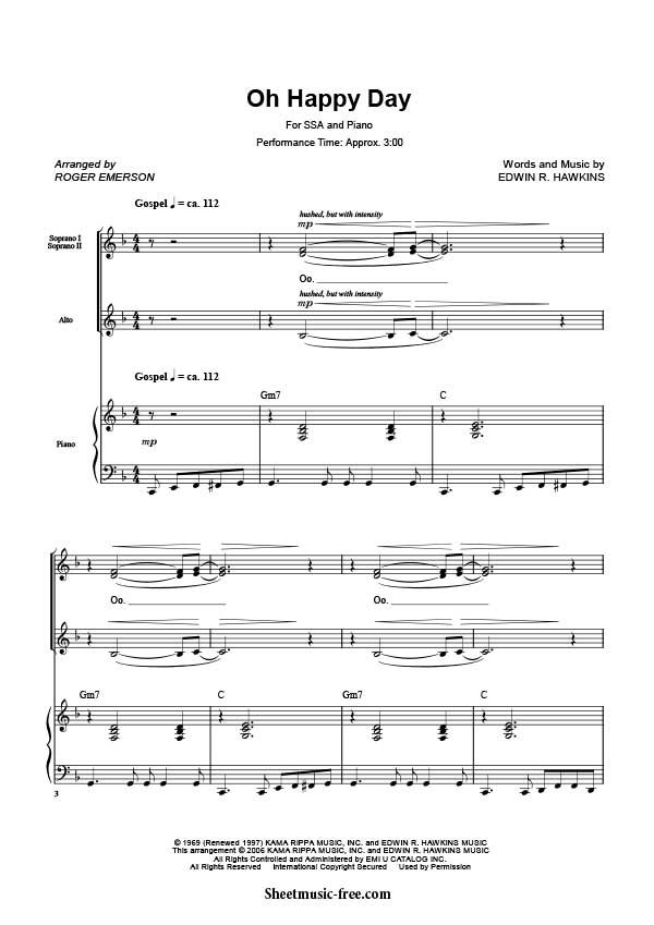 Oh Happy Day Sheet Music Sister Act Download Oh Happy Day Piano ...