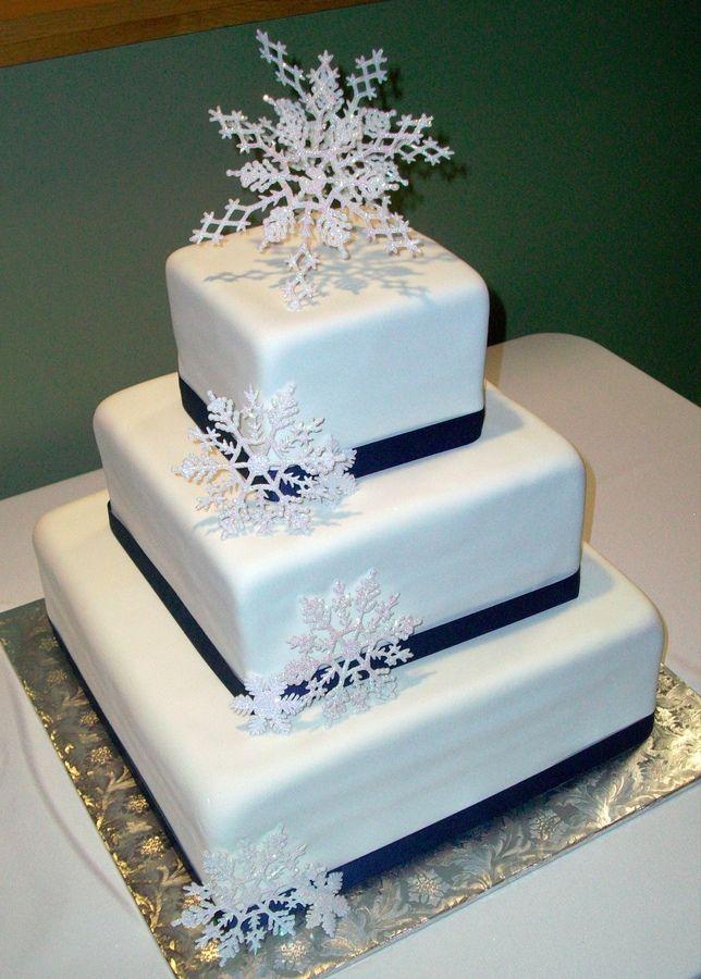 Snowflake Wedding Cake Square Cakes