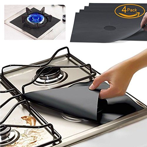 Gas Range Protectors Kitchen Accessories Gas Stove Burner Liners Fda Approved Set Of 4 Black Reusable Nonstick St Gas Stove Burner Stove Top Burners Gas Stove
