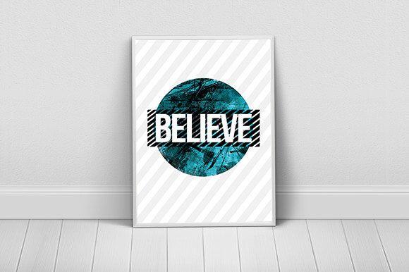 Believe Printable Wall Art, Motivational Artwork, Typography Print, DIGITAL DOWNLOAD ART by ArtzyPrints on Etsy https://www.etsy.com/listing/251104343/believe-printable-wall-art-motivational