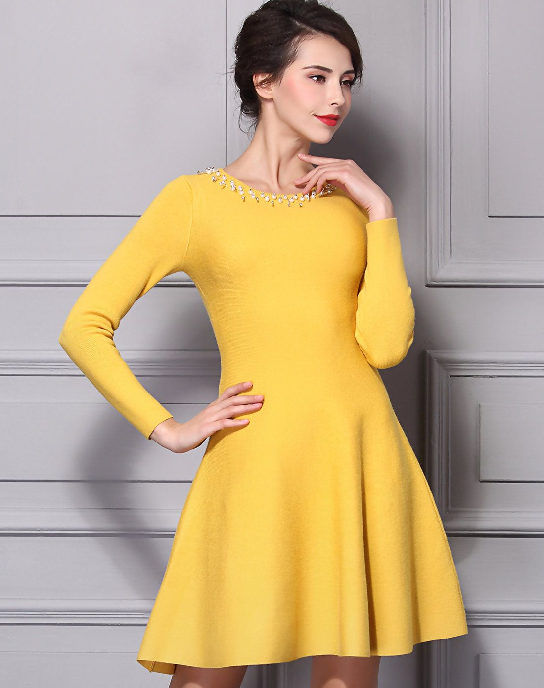 15252e9d0c09  AdoreWe  VIPme Sweater Dresses - BAOYAN Yellow Crewneck Beaded Mini  Sweater Skater Dress -