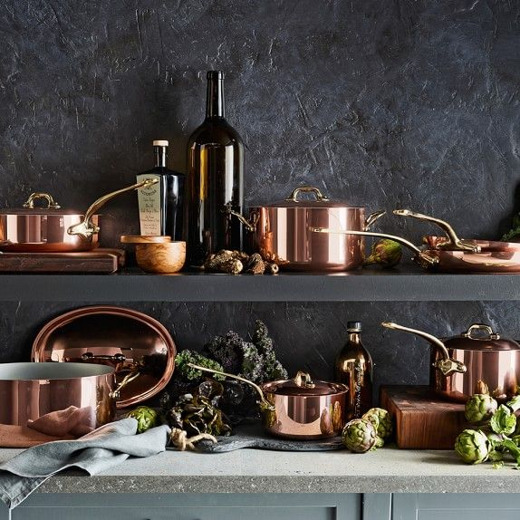 Mauviel Copper 12Piece Cookware Set is part of Copper Home Accessories Dream Kitchens - Mauviel professional copper cookware has been used in the world's great kitchens since 1830—from fine restaurants to Parisian cooking schools  Designed for perfectly uniform heating with unrivaled temperature control, our set includes the ideal…