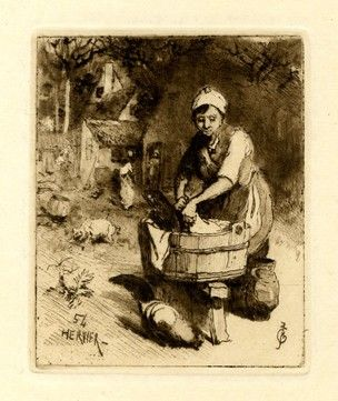 Peasant Woman Doing Her Laundry In A Wooden Vat Scene Set