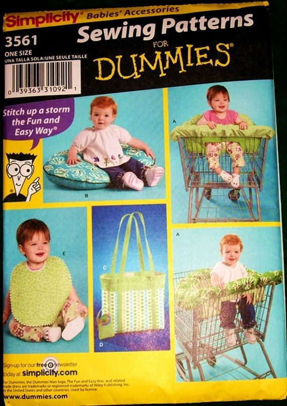Sewing For Dummies Cart Seat Cover 5 More Items Pattern 3561 Is