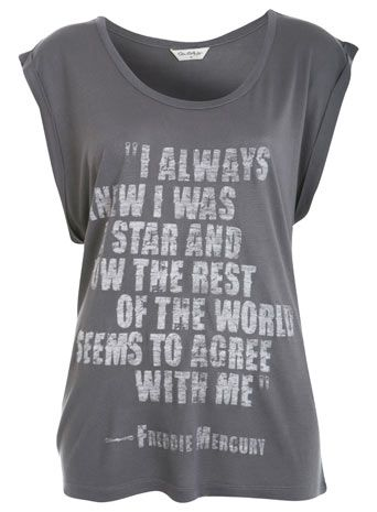 """I always knew I was the star and now the rest of the world seems to agree with me"" Freddie Mercury tee"