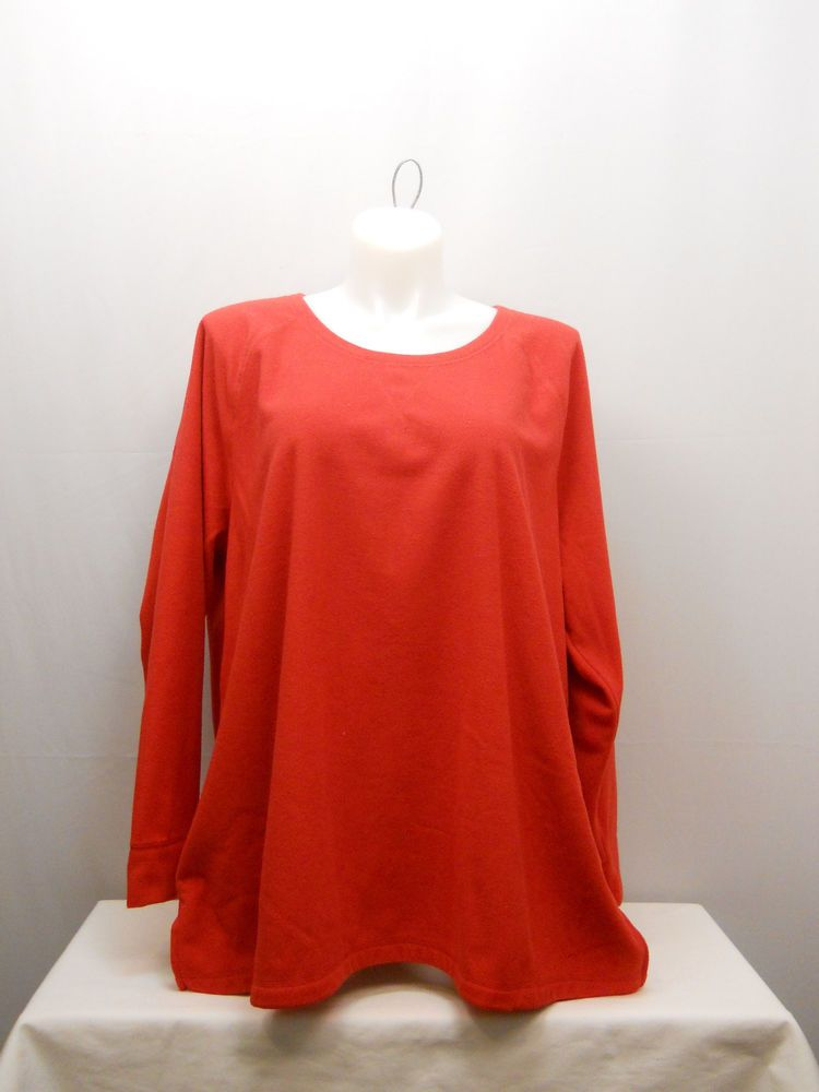 cfe96a61230 Womens Sweatshirt PLUS SIZE 4X DANSKIN Solid Red Fleece Long Sleeve Crew  Neck  Danskin  SweatshirtCrew