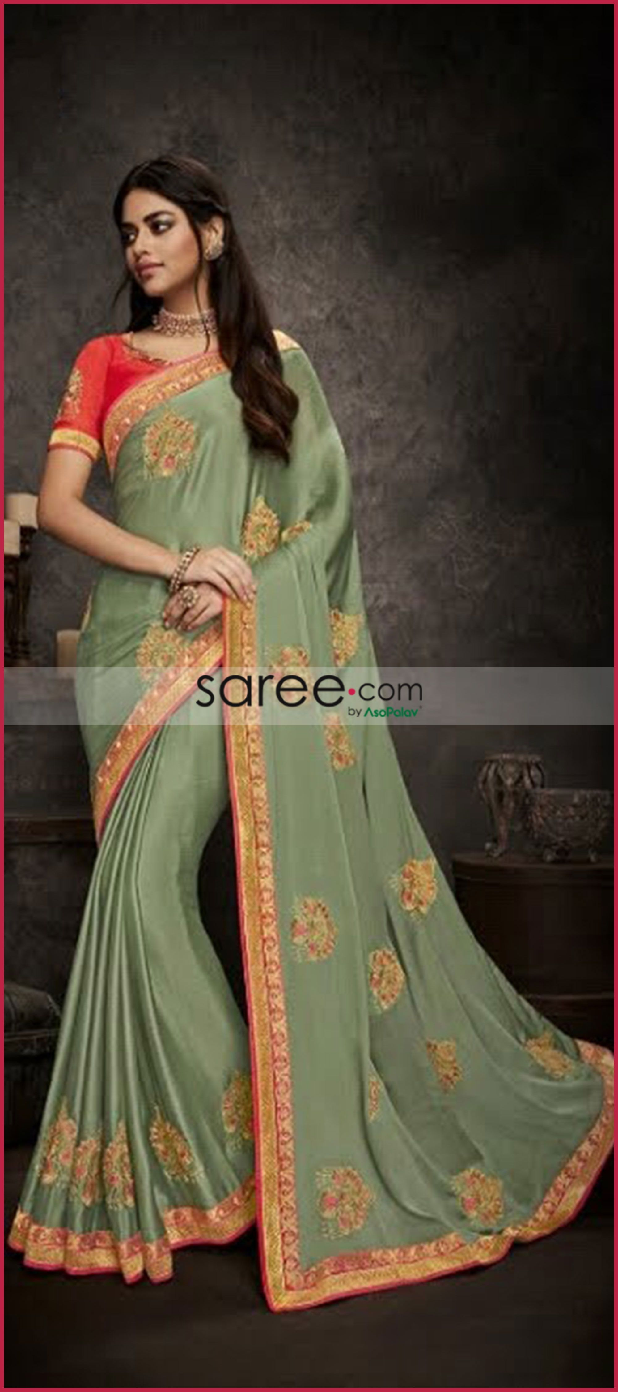 9e54ebef0663f Moss green satin silk plain saree with designer blouse indian jpg 2000x4500  Silk moss indian clothing