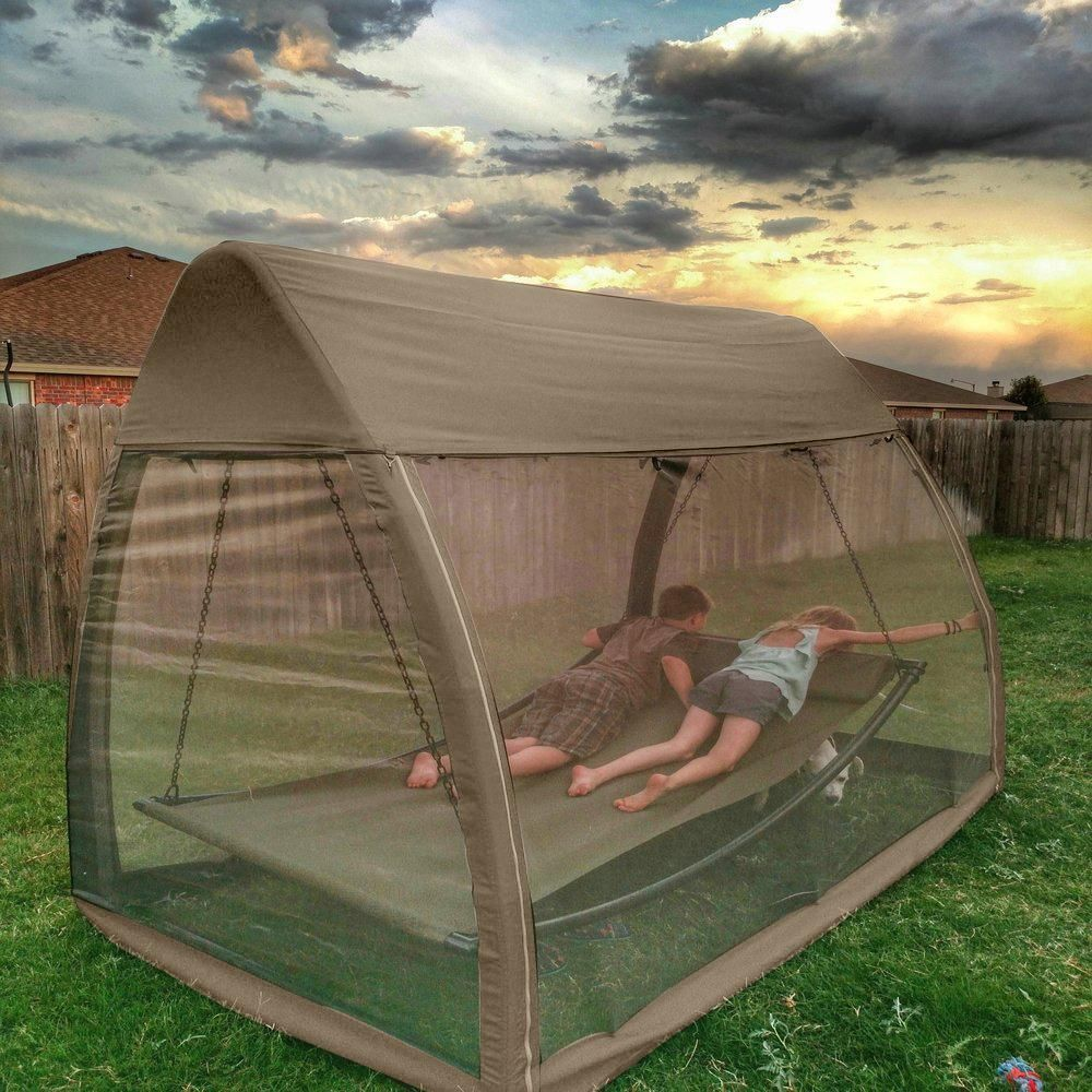 Hanging Swing Hammock with Mosquito Net 7.6x4.5x6.7 Ft ...