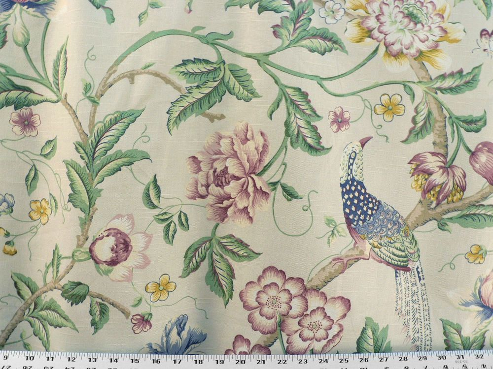 Peacock Garden Drapery Upholstery Fabric Cotton Slub Floral Bird Insect Design