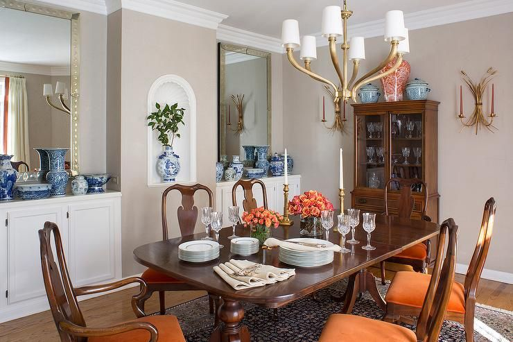 Transitional Dining Room Design Ideas, Orange Dining Room Chair Cushions