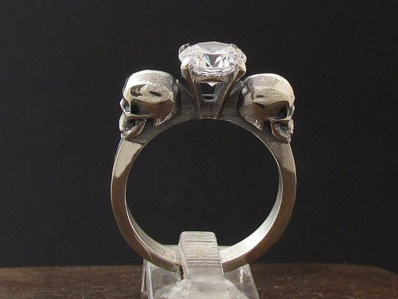 MySacrum SKULL RING ENGAGEMENT by MySacrum on Etsy
