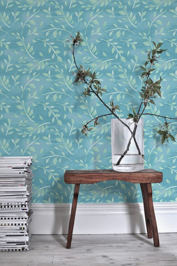 Boho decal, Leaves wallpaper, Watercolor removable