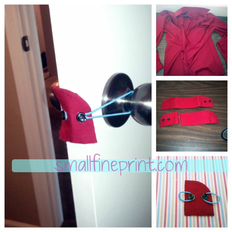 diy door stopper from the cuff of a men 39 s shirt and. Black Bedroom Furniture Sets. Home Design Ideas
