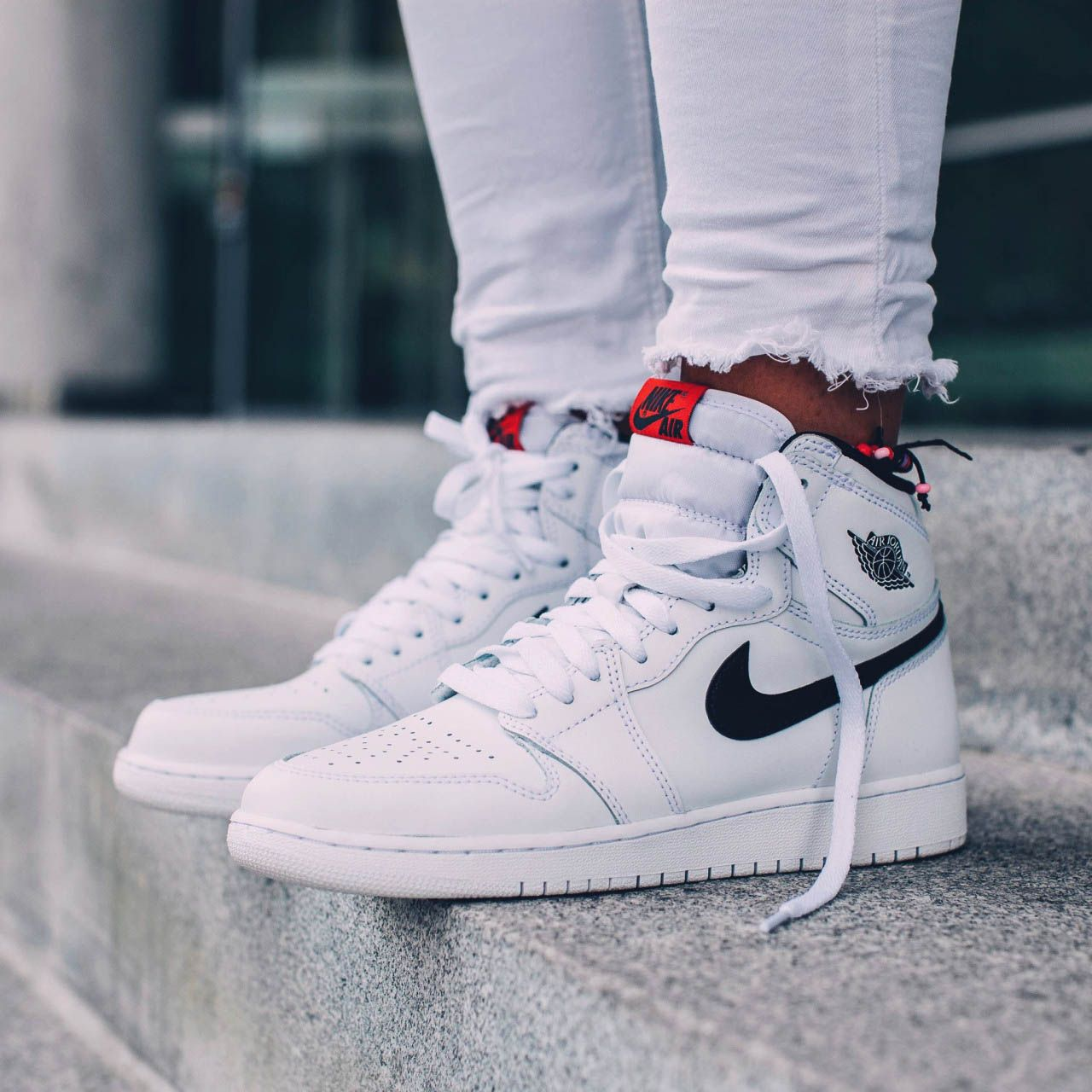 d6f83d26cf21 NIKE Air Jordan 1 Retro High OG  White x Black x Touch of Red ...