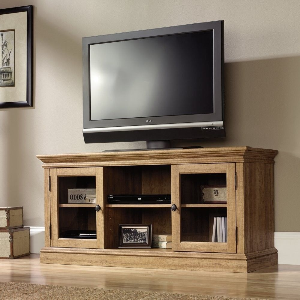 50 Inch Low Profile Flat Screen TV Stand - Glass Shelf in TV Stands