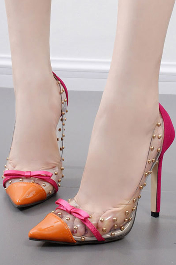 2047f3358f1 Fuchsia Clear Bow Decor Studded Pointed Toe Stiletto High Heels in ...