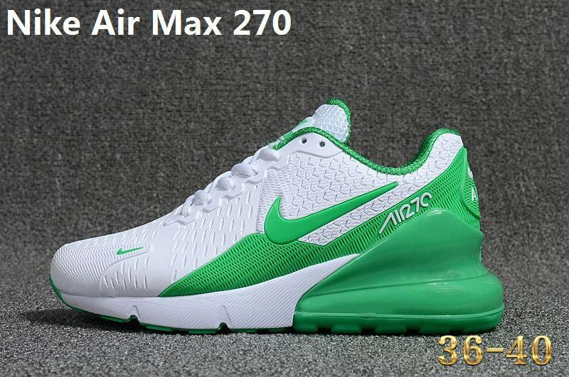 new styles bd878 01f77 Real Nike Air Max 270 KPU Latest Styles Running Shoes Sneakers 2018 White  Green