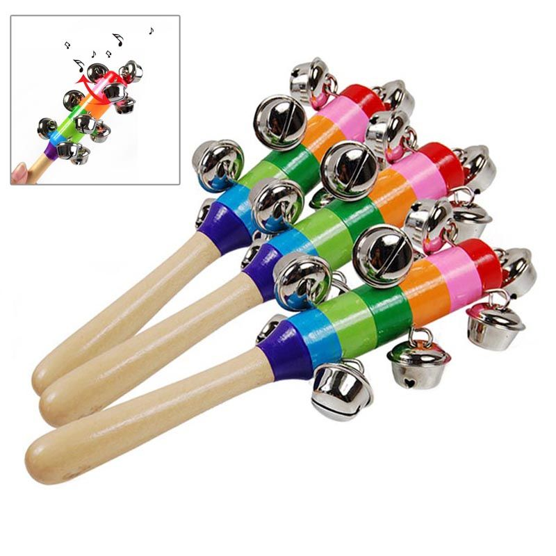 Rainbow Wooden Handle Bell Jingle Stick Rattle Toy Kids Baby Musical Educational