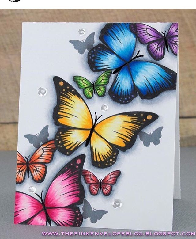 We're all a-flutter over this glorious card by Cynde of The Pink