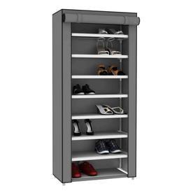 Home Basics Sunbeam 8 Tier Portable Polyester Shoe Closet Grey