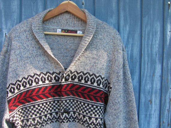 vintage 1970s thick knit cardigan sweater by dirtybirdiesvintage, $58.00
