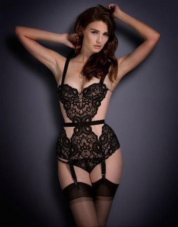 17fb1e0974e The Matilda corset from AP is a retro  60s style made in luxurious black  corded French lace and nude powermesh.